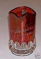 1906 Mrs Masterson Ruby Flash Glass Pitcher - Thumbprint
