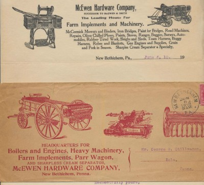 1910 Illustrated Letterhead & Envelope - Farm Implements