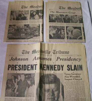 Lot Of Meadville PA Newspapers Covering JFK Assassination