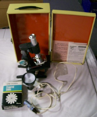 Vintage Gilbert Microcraft Microscope Set In Metal Tin Box