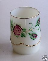 1906 Handpainted Lacy Medallion Milk Glass Tumbler