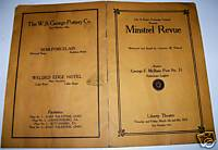 1925 East Palestine Ohio Stereotypic Minstrel Show Program