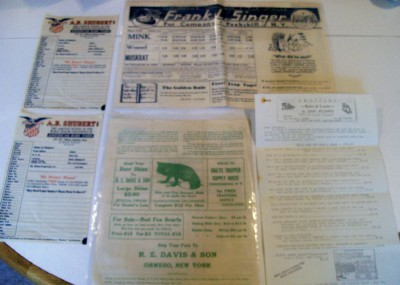 Mixed Lot Of Vintage Fur Trapping Items With Price Lists