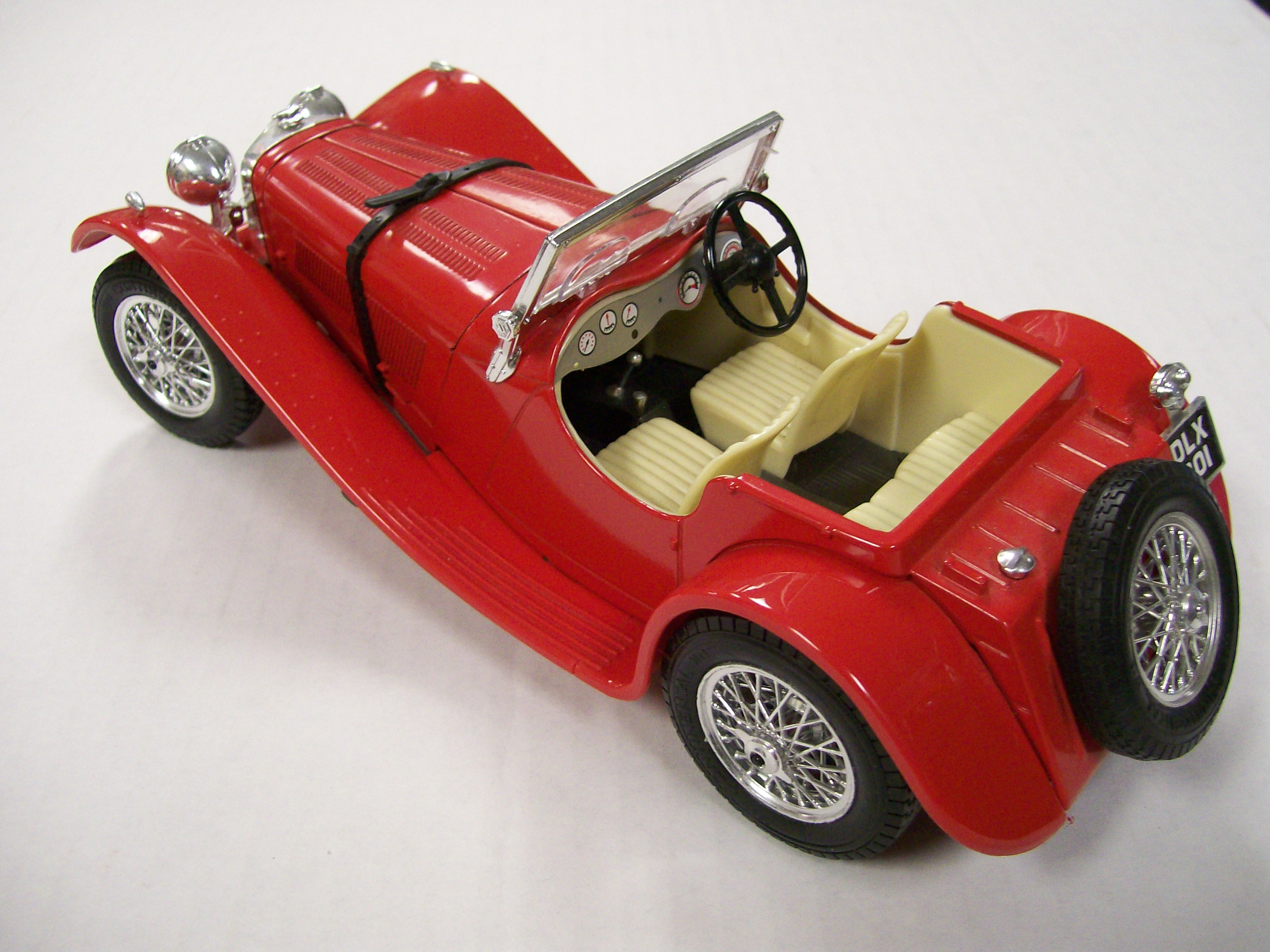 1937 Red Jaguar SS100 1/18 Scale-Italy Hood Opens