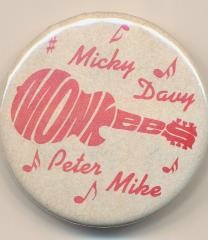 1966 Monkees Larger Pinback By Rayber- Scarce