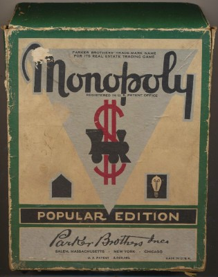 Vintage 1941 Monopoly Game - Green Box - Deluxe Embossed Hotels