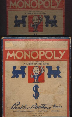 Vintage 1937 Monopoly Game - Blue Box - Wood Die - Game Board