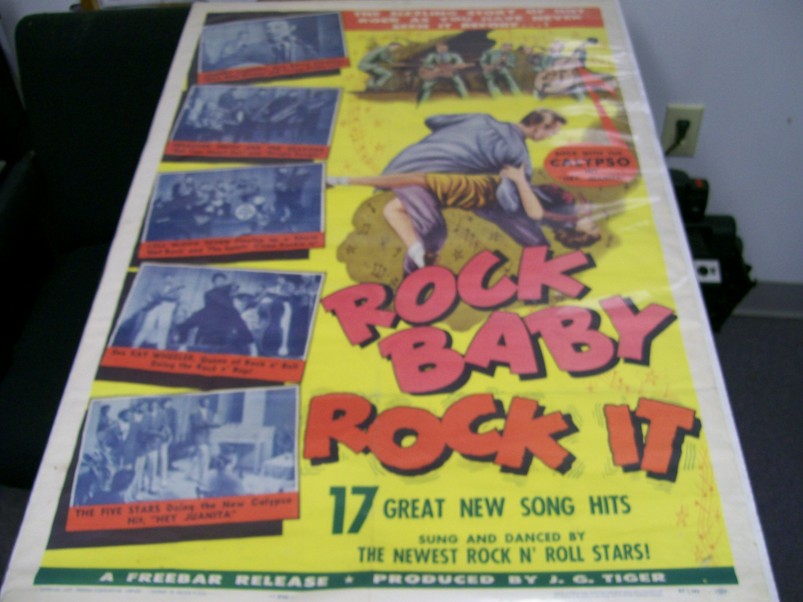 "ROCK BABY ROCK IT FULL COLOR ROCK-A-BILLY POSTER 27""X41"""
