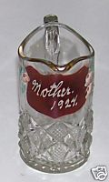 Mother 1924 Ruby Flash Glass Pitcher With Handpainted Flowers