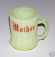 Custard Glass Mini Mug Toothpick Holder Or Shot Glass - Mother