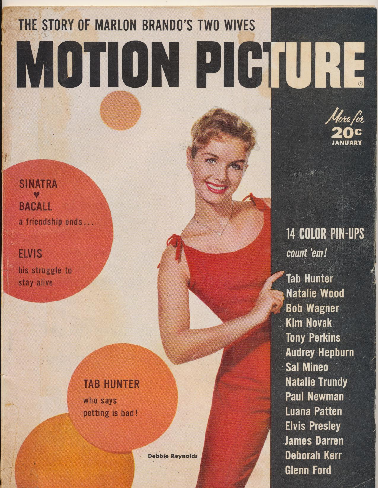 Jan 1958 Motion Picture Fan Mag - Elvis Struggles To Stay Alive