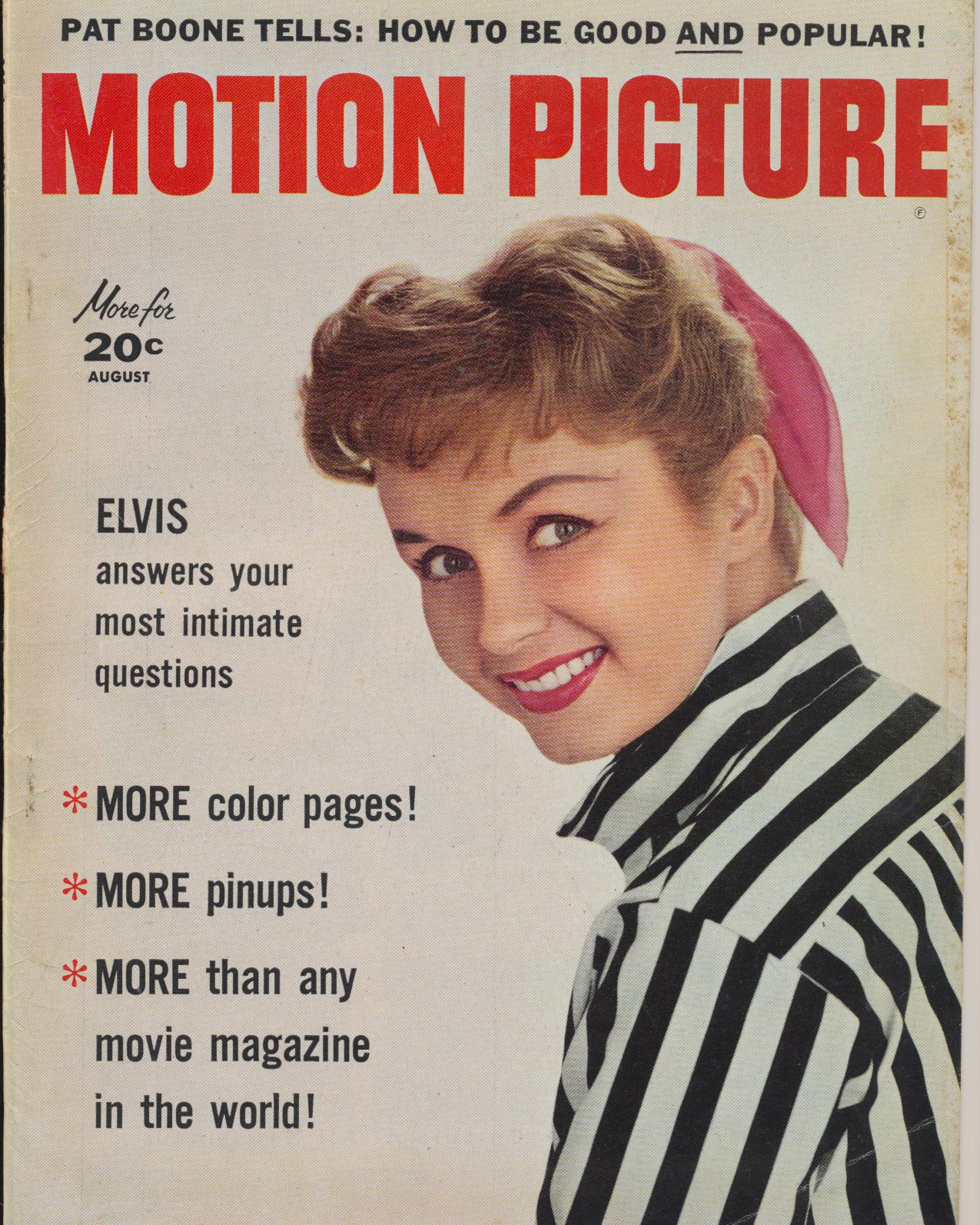 Aug 1957 Motion Picture Mag - Elvis Answers Intimate Questions