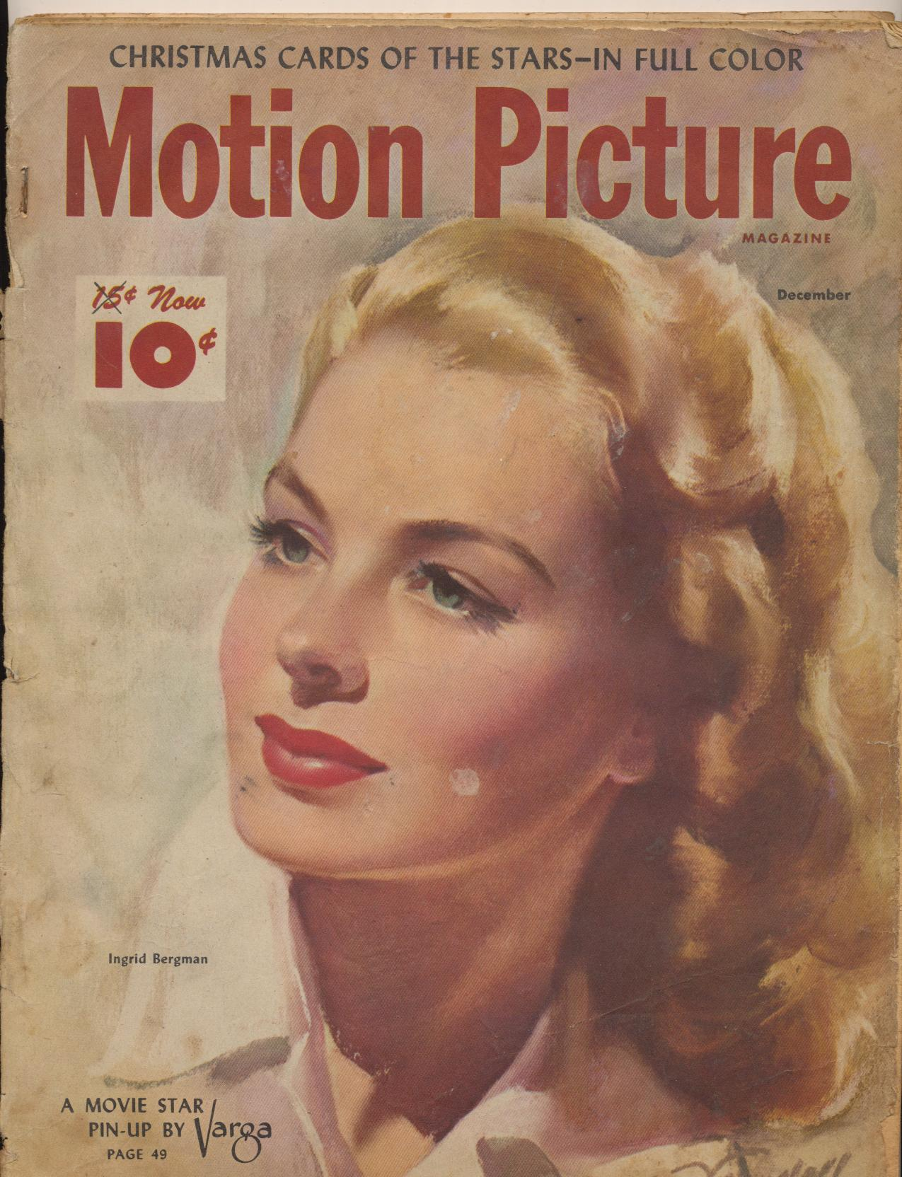 Dec 1947 Motion Picture Movie Fan Mag - Ingrid Bergman Cover