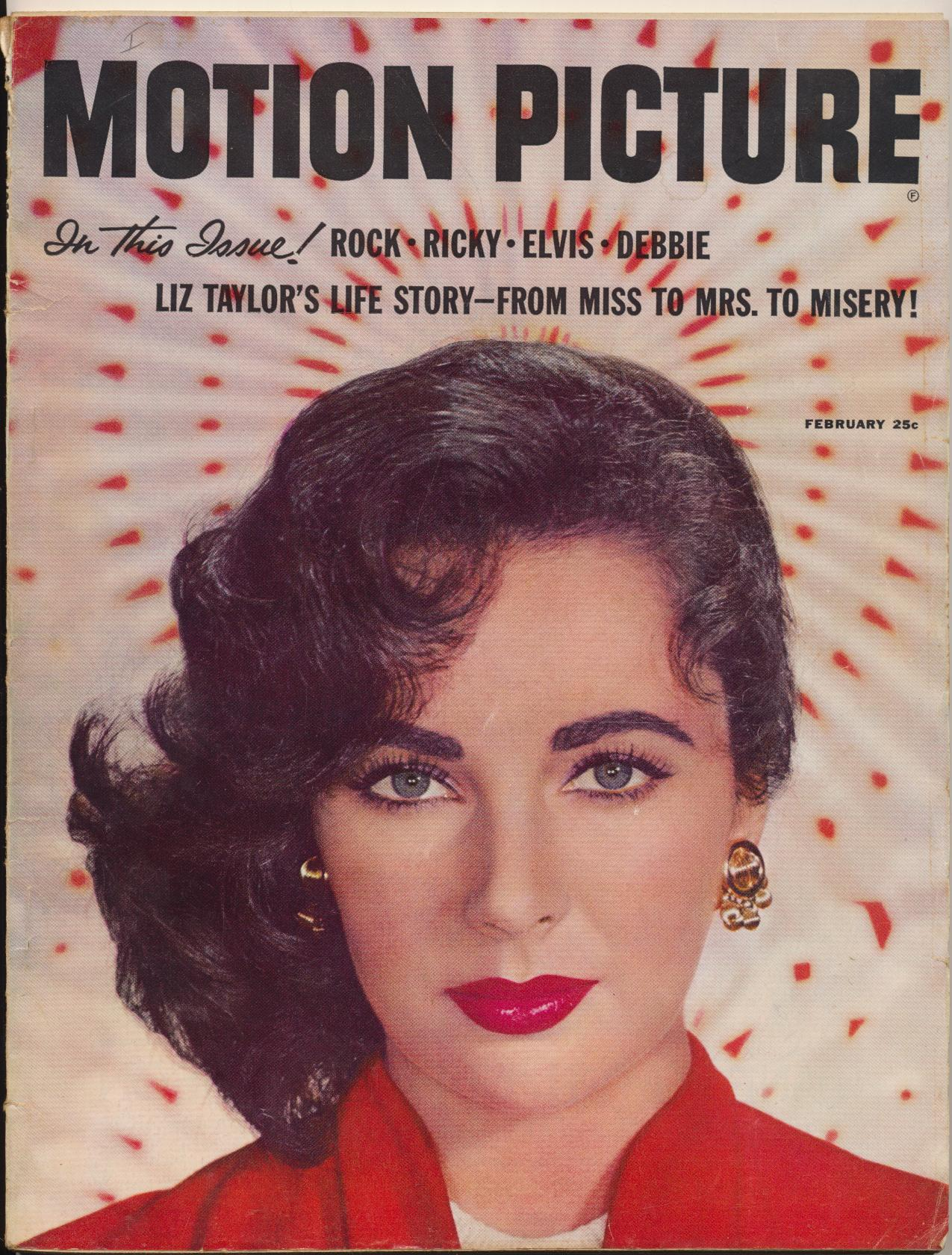 Feb 1958 Motion Picture Mag - Liz's Life Story + Elvis + Marilyn