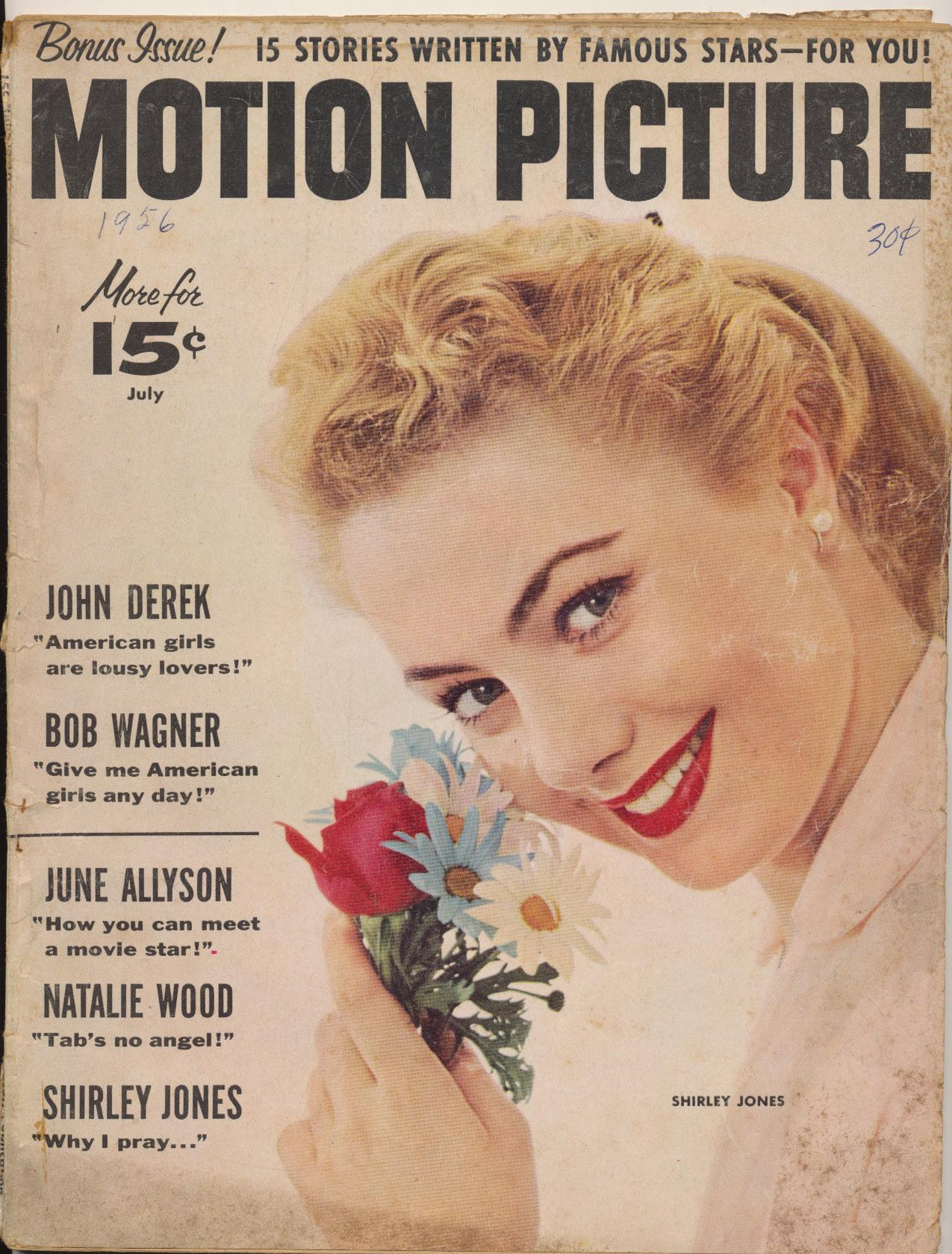 July 1956 Motion Picture Movie Fan Magazine--Shirley Jones Cover