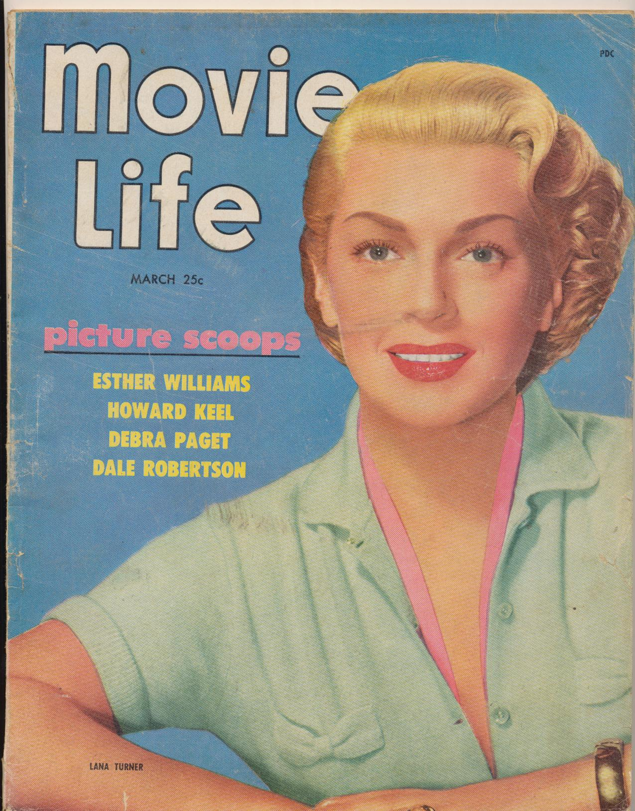 March 1953 Movie Life Fan Magazine - Lana Turner Cover