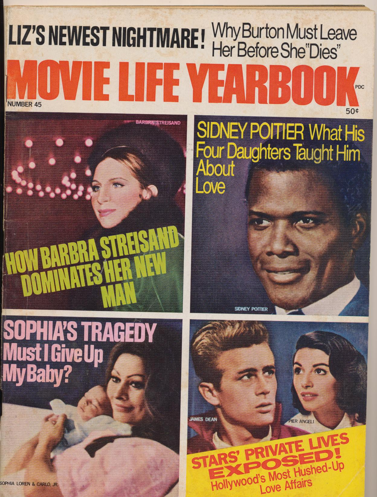 1969 Movie Life Yearbook - Fan Magazine-James Dean Sophia Liz +
