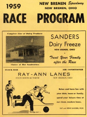 1959 New Bremen Speedway Car Racing Program