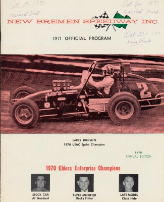 1971 New Bremen Speedway Car Racing Program