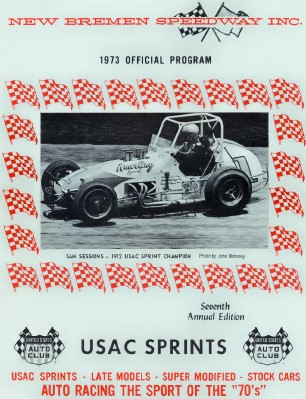 1973 New Bremen Speedway Sprint Car Racing Program--Sam Sessions