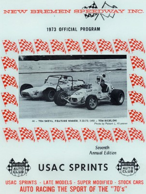 1973 New Bremen Speedway Sprint Racing Program - Sneva & Bigelow