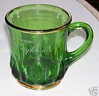 New Brighton PA Souvenir Victorian Green Glass Cup W/Gold Flash