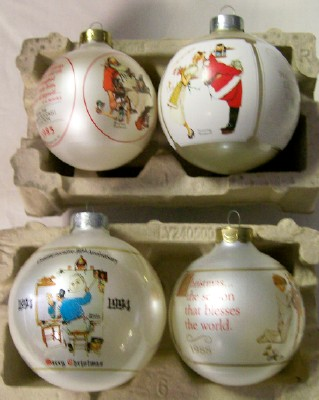 Lot Of 4 Dated Norman Rockwell Christmas Ball Ornaments