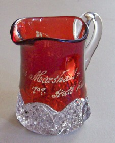 1909 Ruby Flash Glass State Fair Souvenir Pitcher With Clovers