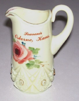 Vintage Osborne KS Souvenir Custard Glass Pitcher