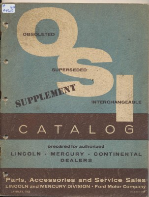 1958 Lincoln Mercury Continental OSI Catalog Supplement