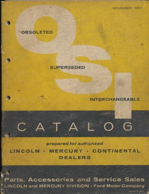 1957 Lincoln Mercury Continental OSI Parts Catalog