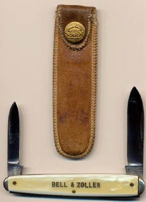 1933 OVB Hibbard Spencer Bartlett Mint Adv Knife W/Leather Pouch