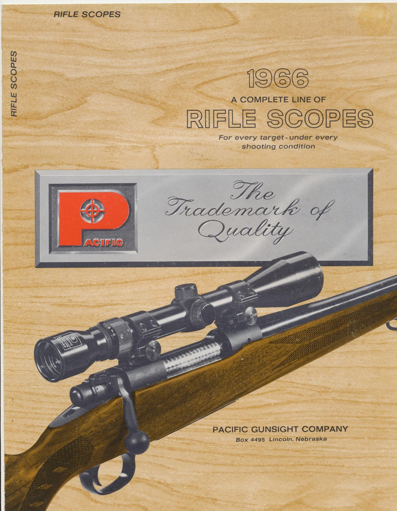1966 Rifle Scopes Catalog From Pacific Gunsight Company
