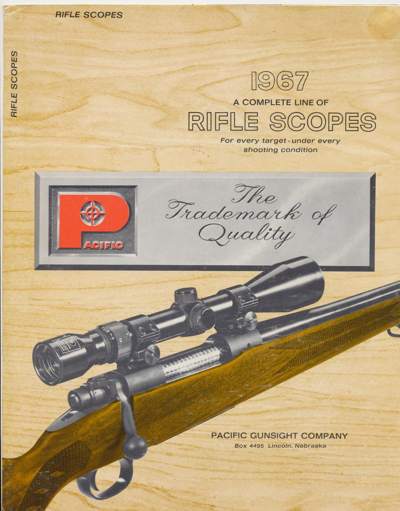 1967 Pacific Gunsight Co Rifle Scopes Catalog & Wall Chart