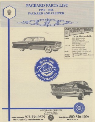 1955 & 1956 Packard & Clipper Parts List - Kanter Auto Catalog