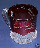 1901 Pan American Exposition Buffalo NY Ruby Flash Glass Cup