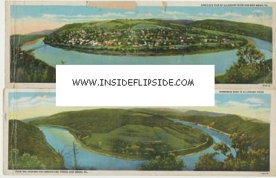 2 Panoramic Postcards East Brady PA Horseshoe Curve Railroad