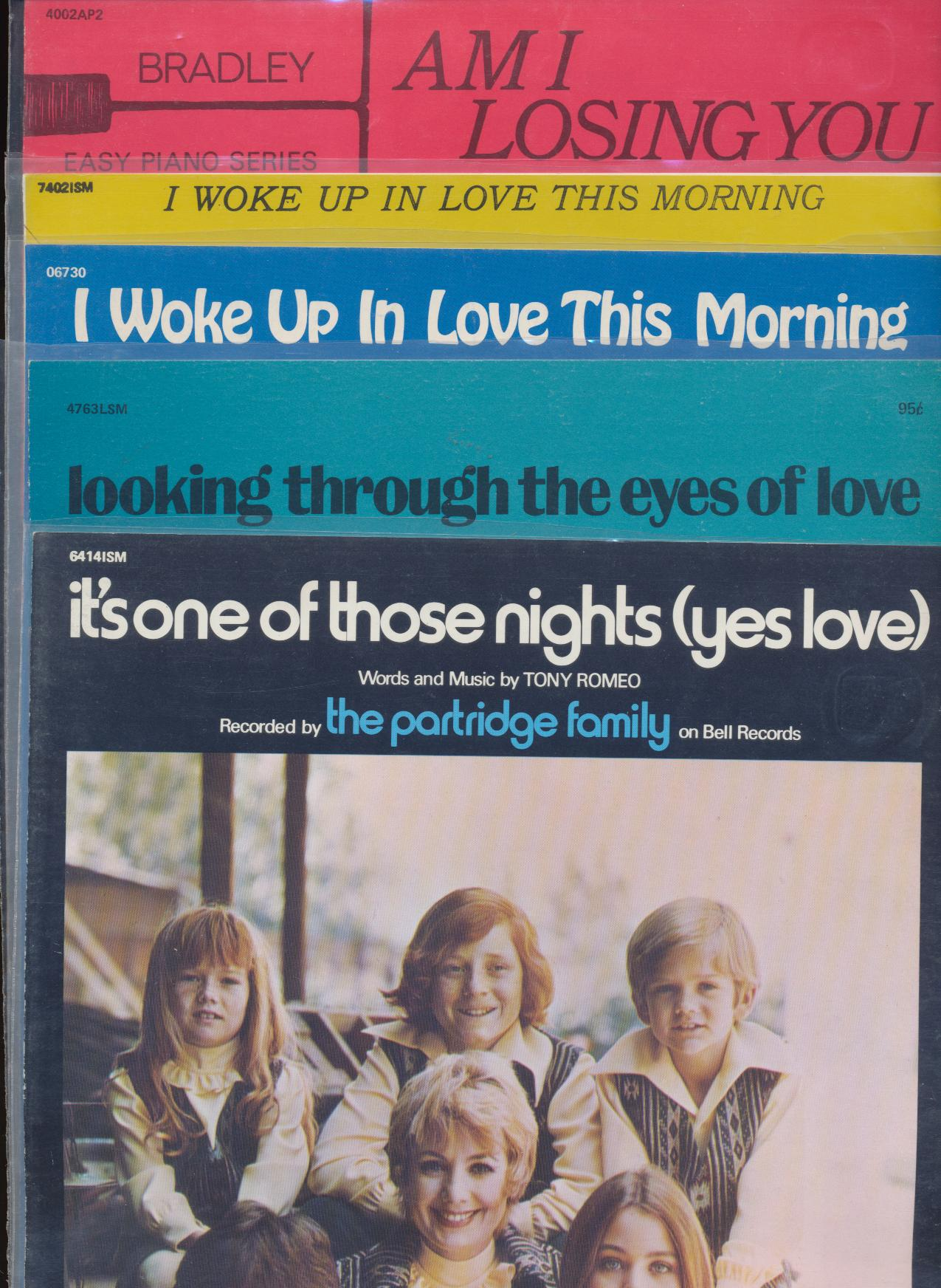 Lot Of Vintage Partridge Family Sheet Music - David Cassidy +
