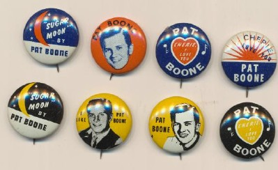 Set Of 8 Vintage Pat Boone Pinback Pins 1950's
