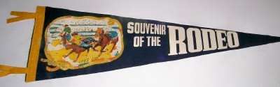 Vintage Rodeo Pennant - Bulldogging Or Steer Wrestling