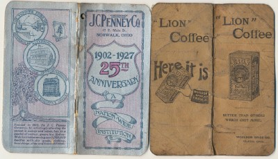 Vintage 1920s J C Penney & Lion Coffee Advertising Notebooks