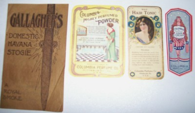 Columbia Perfume Label Lot + Cigar Advertising Book