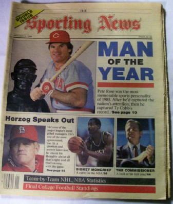 January 6 1986 Sporting News - Pete Rose Man Of The Year Cover