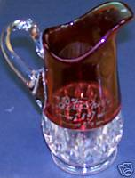 1897 Petoskey Michigan Souvenir Ruby Flash Glass Pitcher