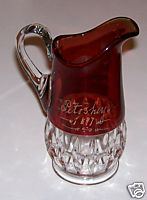 1897 Petoskey Ruby Flash Glass Pitcher - Julia