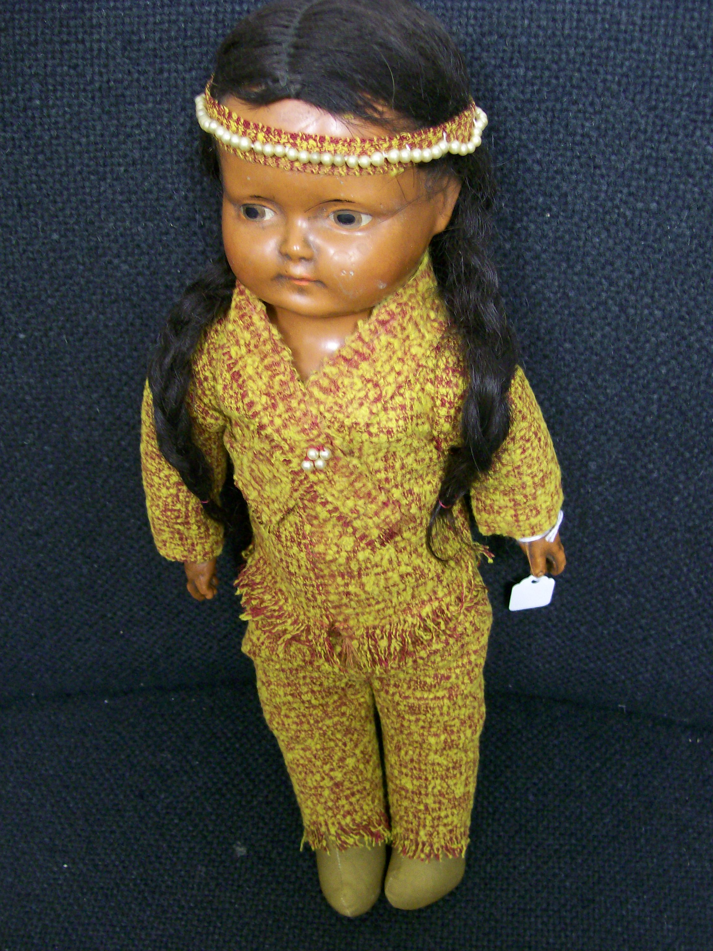 Indian Childs Doll Bisque Head & Hands Real Hair Very Old