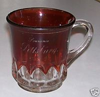 Vintage Pittsburg Souvenir Ruby Flash Glass Cup
