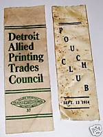 1914 Pouch Club & Detroit Printing Lodge Badge Ribbons