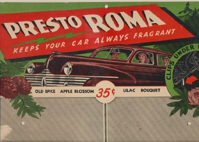 1941 PrestoRoma Car Air Freshener Dealer's Store Display Card