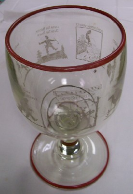1933 End Of Prohibition Celebration Giant Goblet W/Cartoons + PC